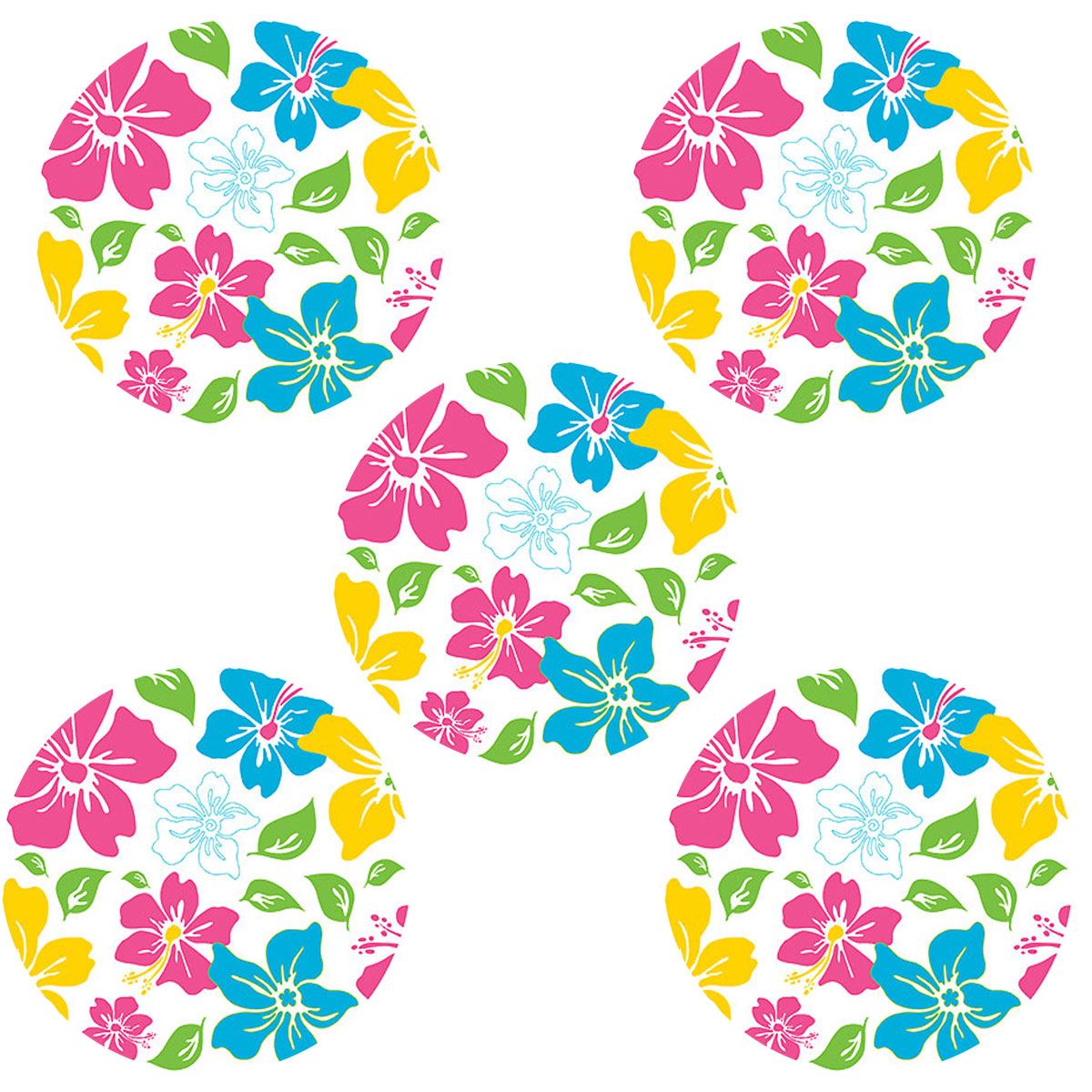 Tropical Pink Flower Circles - 5pc Wall Stickers