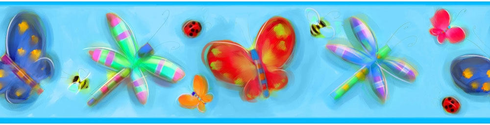 Butterflies and Dragonflies Wallpaper Border
