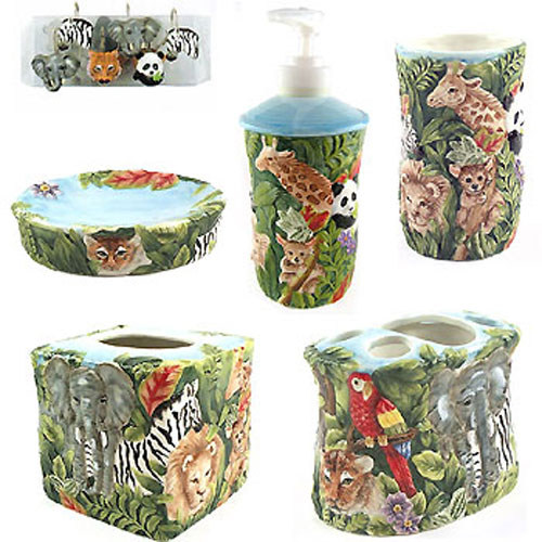 Jungle 17 piece bathroom set kids safari