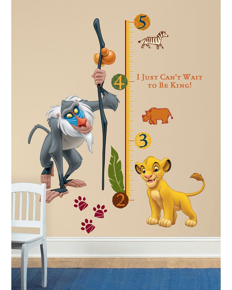 Lion King Growth Chart Accent - Simba Rafiki Large Stick-up Wall Decals  RMK1924SLM