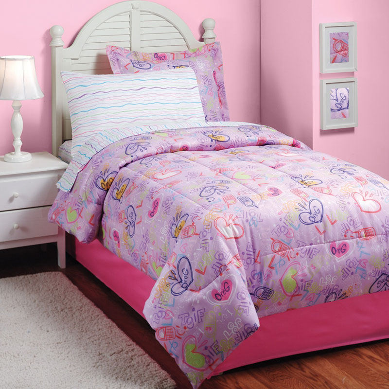 LOL Texting Bedding Set - 6pc Pink Comforter Set