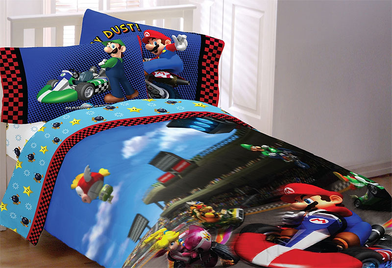 new mario kart full bedding set  nintendo luigi race car quilt, coloring pages