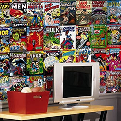 Marvel comic book covers xmen spiderman hulk wall mural for Comic book wallpaper mural