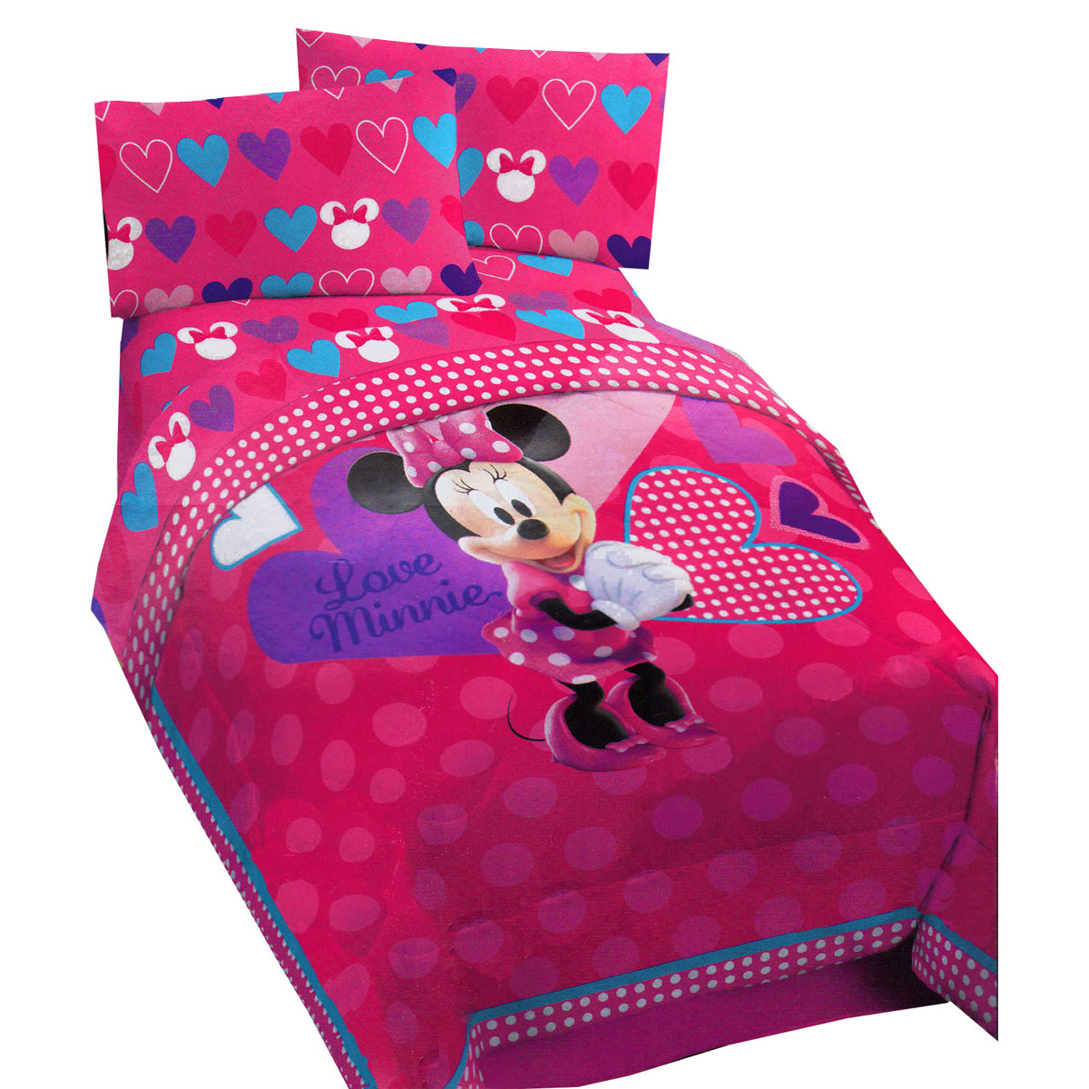 Disney Minnie Mouse Hearts Twin Comforter