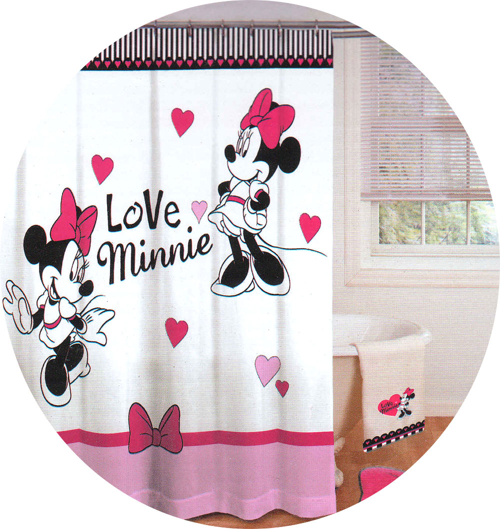 NEw Disney MINNIE MOUSE Love Hearts SHOWER CURTAIN Pink