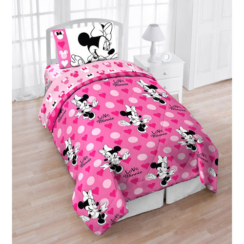 Disney Minnie Mouse Bows Twin Comforter Pink Hearts