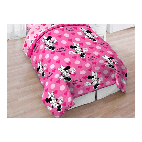 Minnie mouse bows twin comforter pink hearts blanket twin single bed