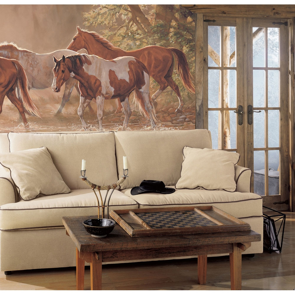 16 western living room decorating ideas ultimate home ideas for Equestrian wall mural