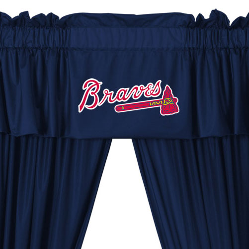 Mlb Atlanta Braves 5pc Boys Drapes And Valance Set