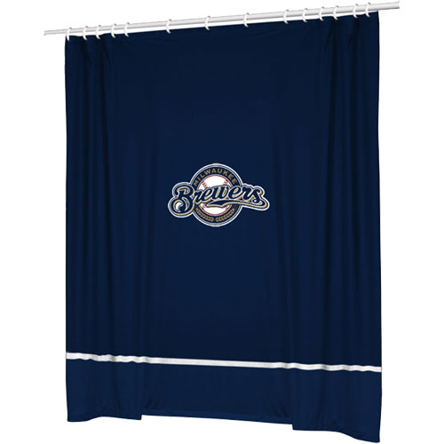 Mlb Milwaukee Brewers Shower Curtain Baseball Bathtub Fabric Decor