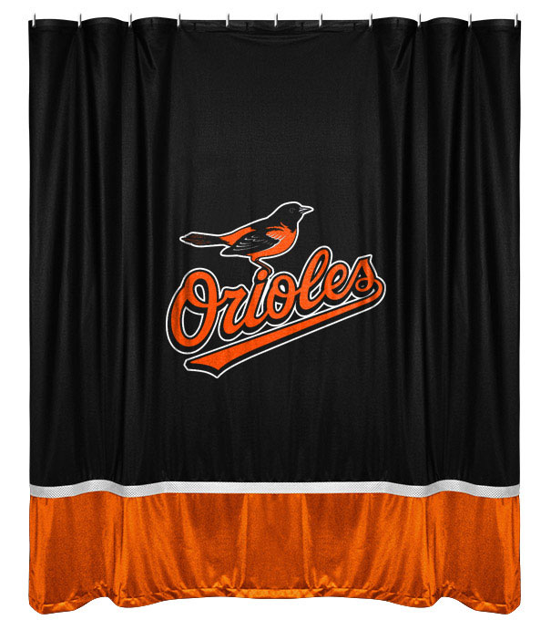 Baltimore Orioles Shower Curtain Mlb Baseball Bathroom Accessories