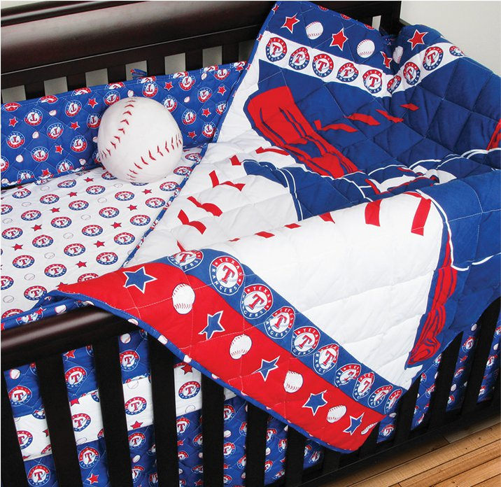 nEw 4pc MLB TEXAS RANGERS CRIB BEDDING SET - Baseball Baby ...
