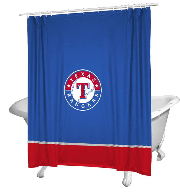 Mlb Texas Rangers Shower Curtain Baseball Bathtub Fabric Decor