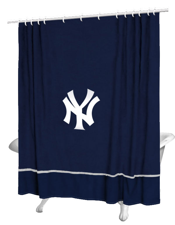 Mlb New York Yankees Shower Curtain Baseball Bathtub Fabric Decor
