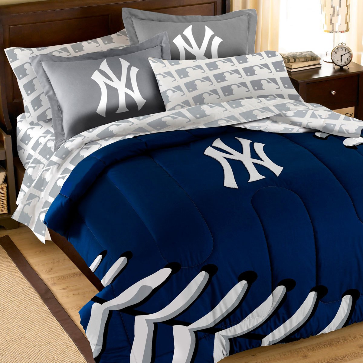details about 7pc new york yankees full bedding set mlb ny baseball