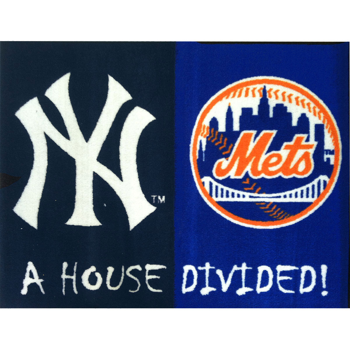 House Divided Yankees Mets Accent Rug Mlb Rivalry Large