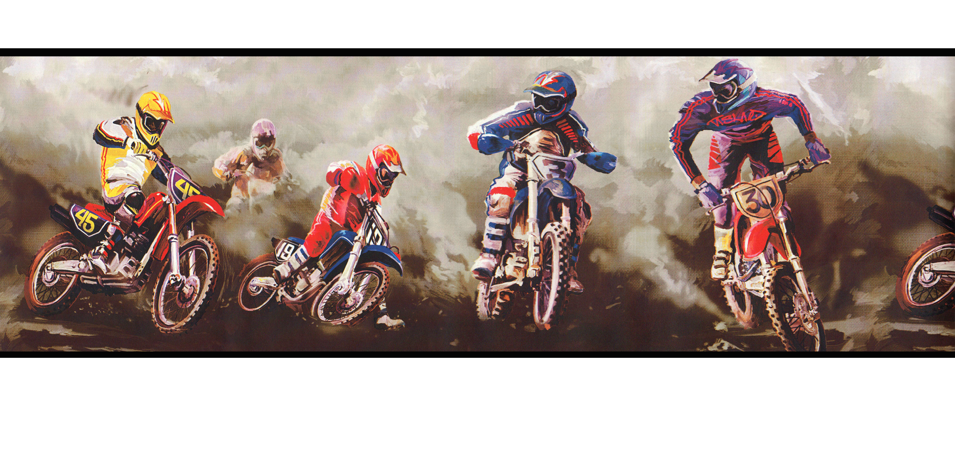 motorcross dirt bike sports 9 inches wide wall paper border. Black Bedroom Furniture Sets. Home Design Ideas