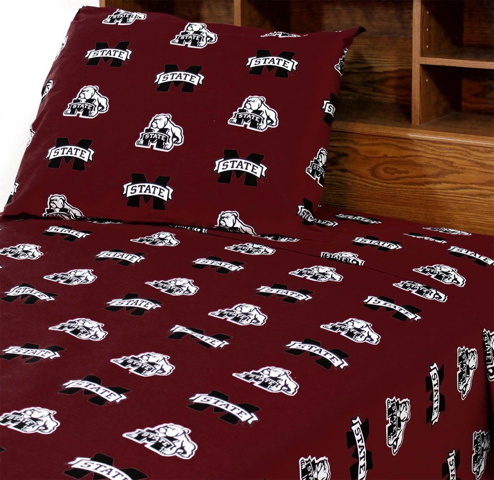 NCAA Mississippi State Bulldogs Collegiate Brown King Bed Sheets at Sears.com