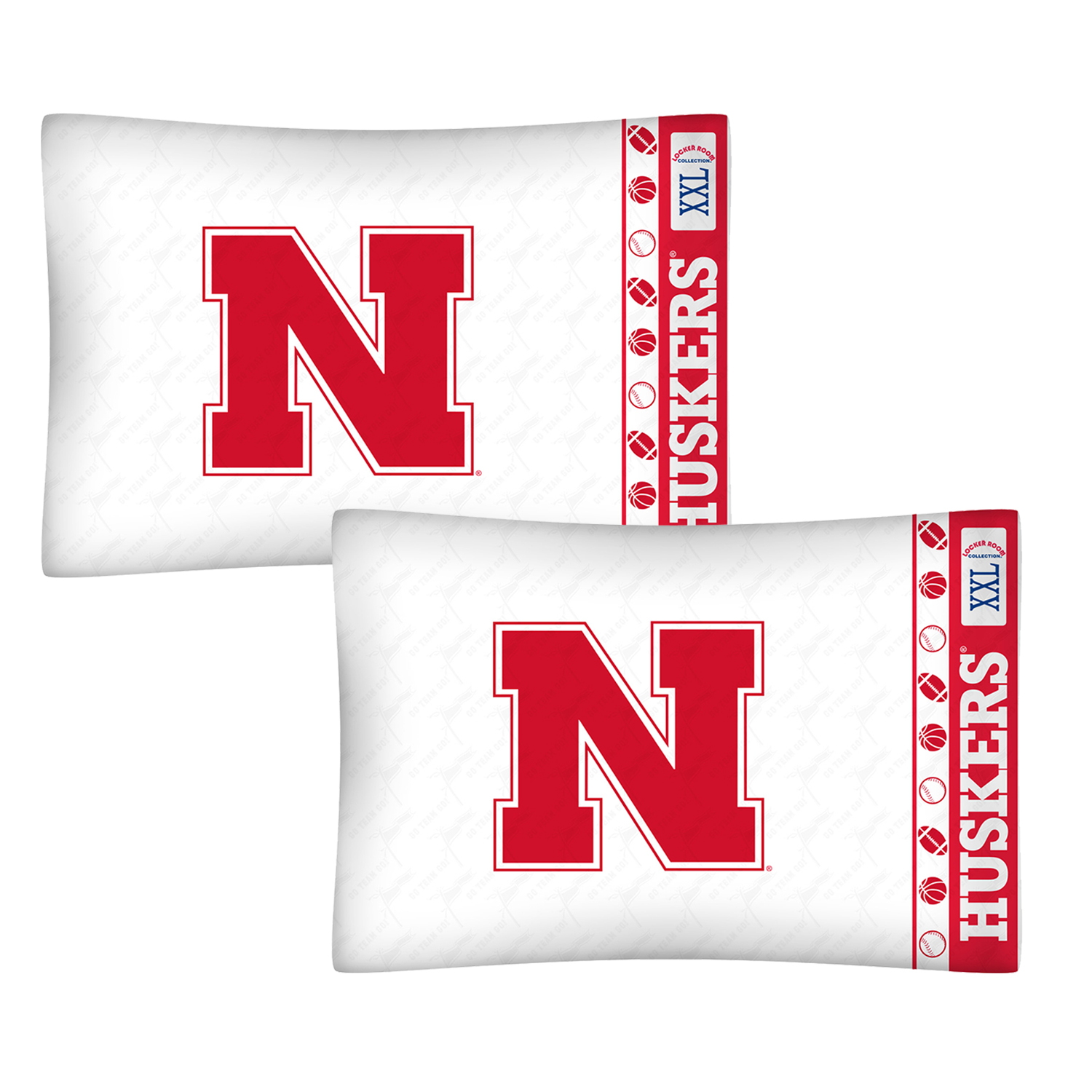 2pc ncaa nebraska huskers pillowcases football logo decor for International decor outlet jacksonville