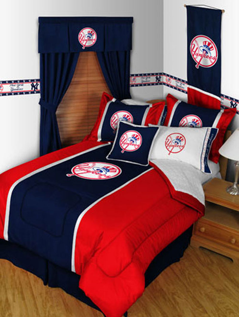 york ny yankees 5pc boys bed in a bag queen baseball bedding set
