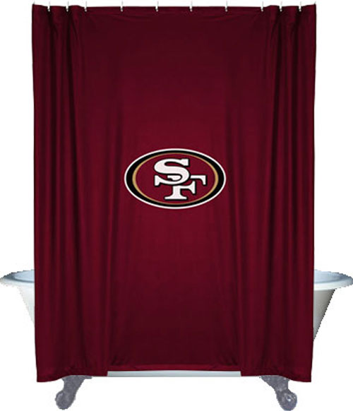 Nfl san francisco 49ers football locker room shower curtain for 49ers bathroom decor