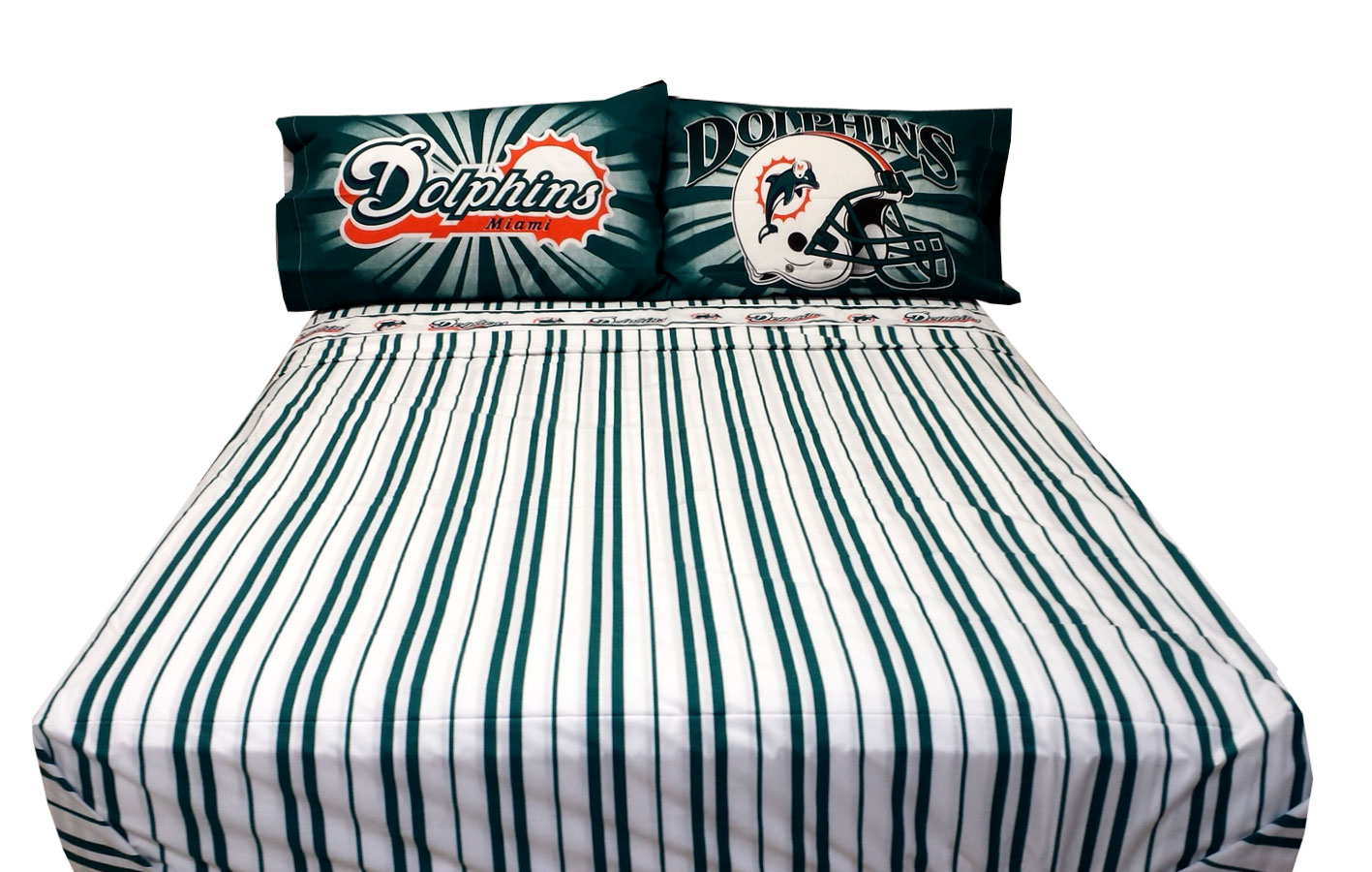 NFL Football Miami Dolphins Bed Sheet Set - 4pc Bedding Sheets Set ...