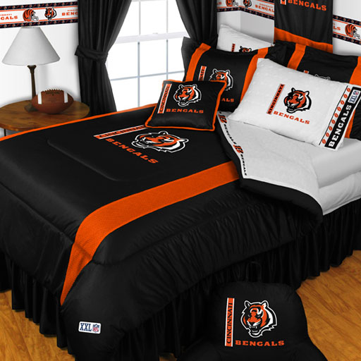One twin bed size comforter and one standard pillowcase for Bengals bedroom ideas
