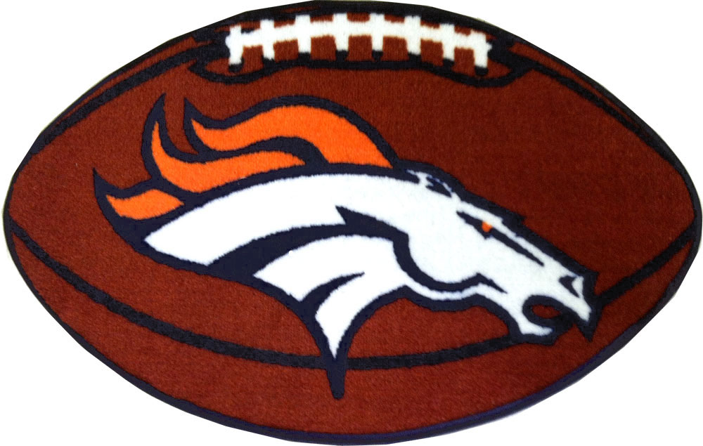 NFL Denver Broncos Football Carpet Shaped Rug