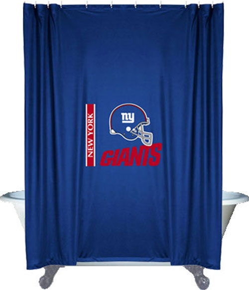 nfl new york giants shower curtain football bathroom accessories. Black Bedroom Furniture Sets. Home Design Ideas