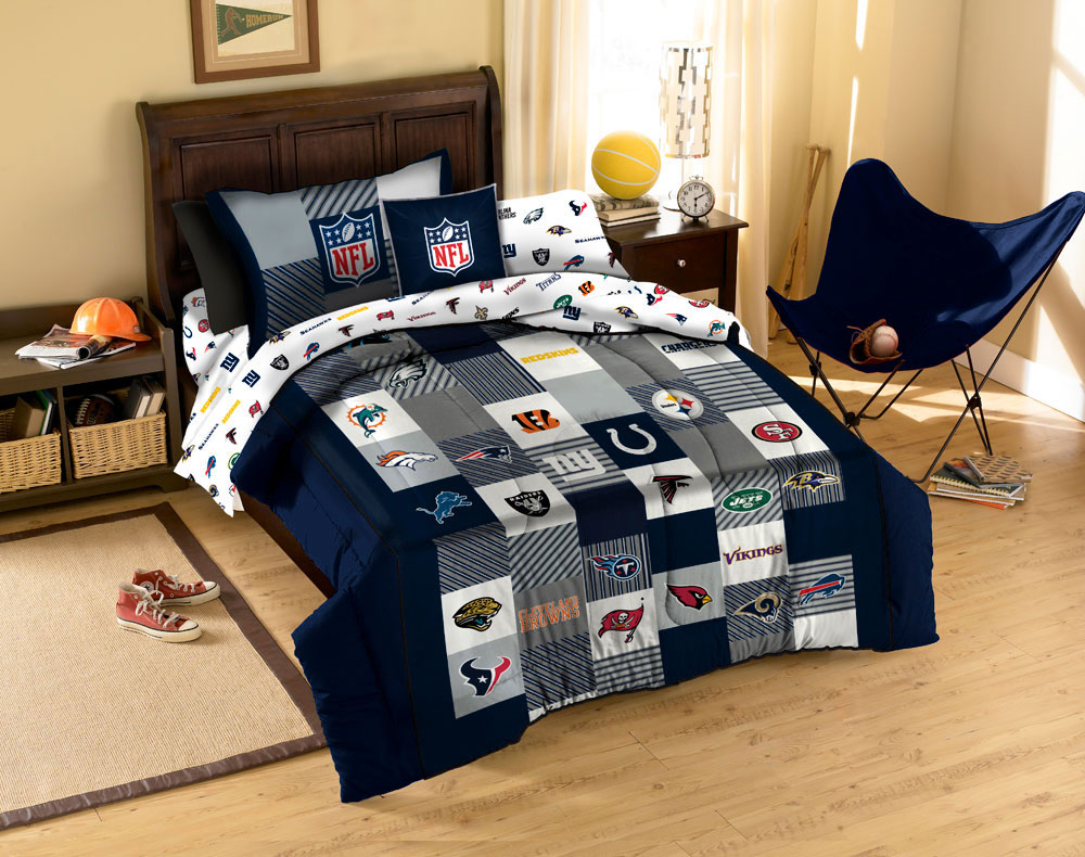 3pc NFL QUILT SET Football Logo LEAGUE FULL QUEEN   COTTON ... ➤. Navy  Bedding ...