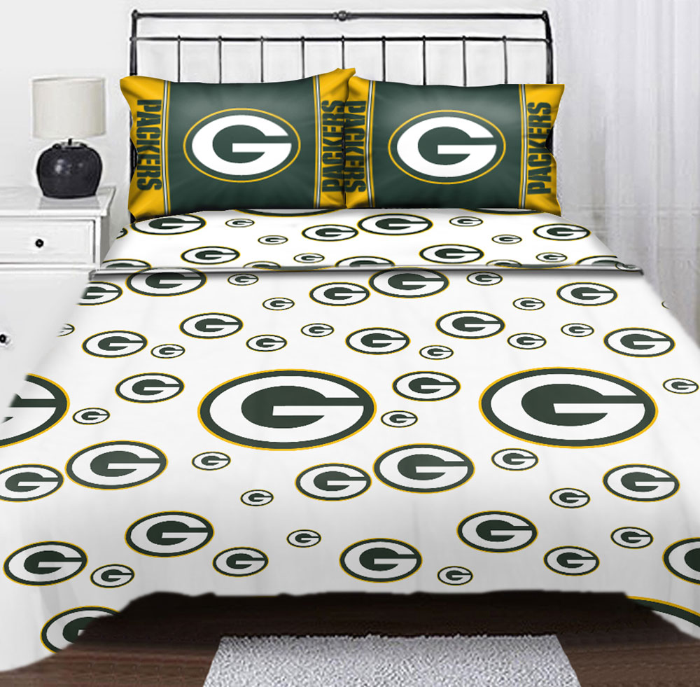 Nfl Green Bay Packers Logo Football Full Bed Sheet Set