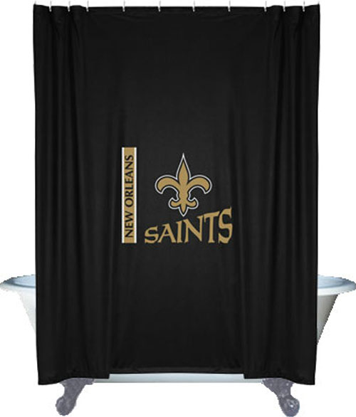 Nfl new orleans saints shower curtain football bathroom for 49ers bathroom decor