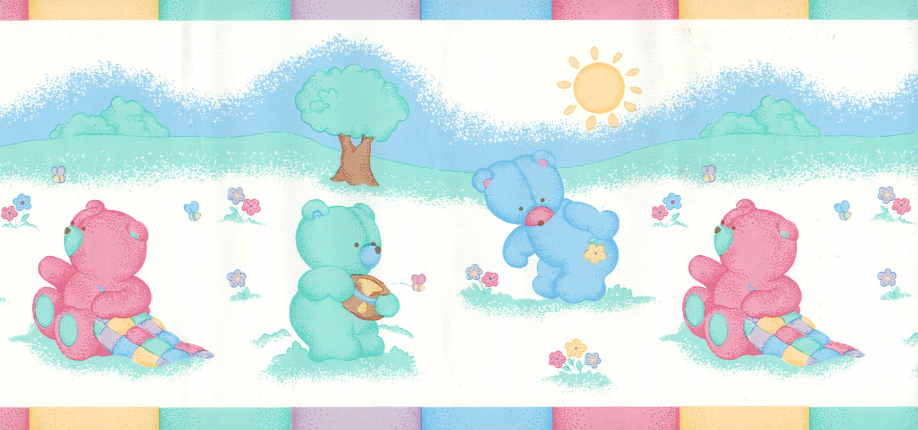 Colorful Bears with Honey and Bees - Nursery Wall Paper Border