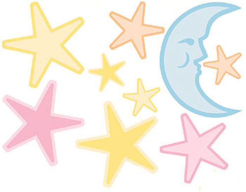 Moon and Stars - 9 Wall Stickers Decals