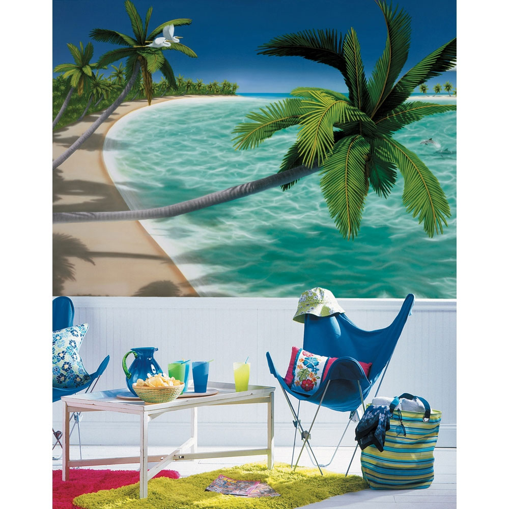 Palm Trees Beach Wall Mural