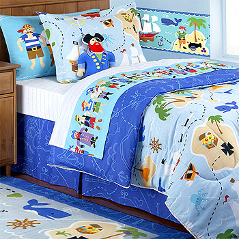pirates treasure hunt 5pc bed in a bag boys queen size bedding. Black Bedroom Furniture Sets. Home Design Ideas