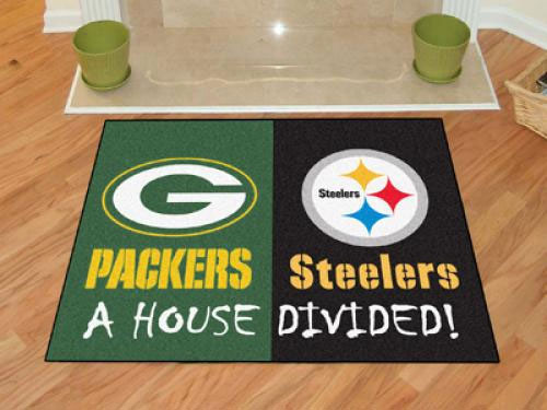 House Divided Packers Steelers Accent Rug Nfl Rivalry