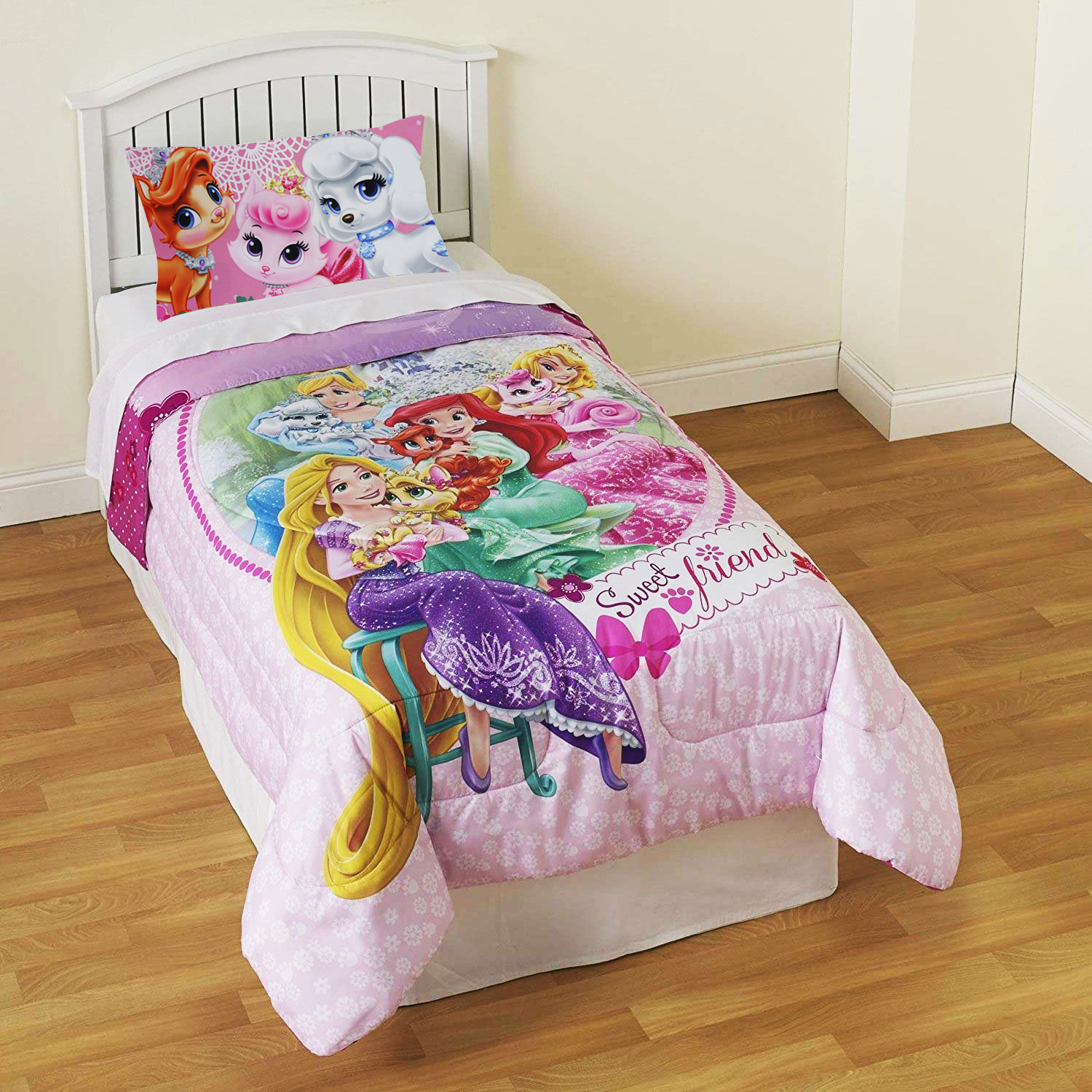 Disney Princess Palace Pets Twin Comforter Set - 29pc Sweet Pet Friends Bedding and Wall Stickers