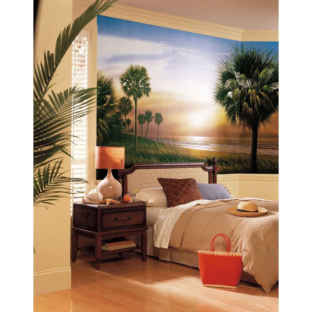 Palm trees wall mural beach sunset wallpaper accent decor for Beach sunset wall mural