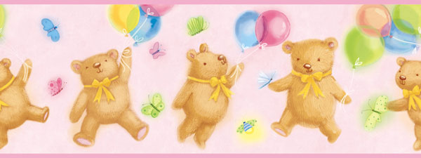Pink Teddy Bear Wall Border