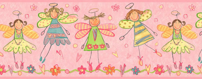 Pink Fairy Princess Wall Border
