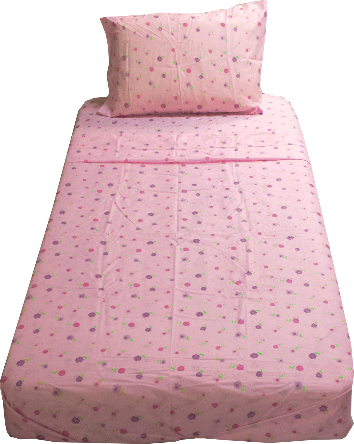 Dotted Flowers Twin Sheet Set - Pink Floral Bedding Twin Size