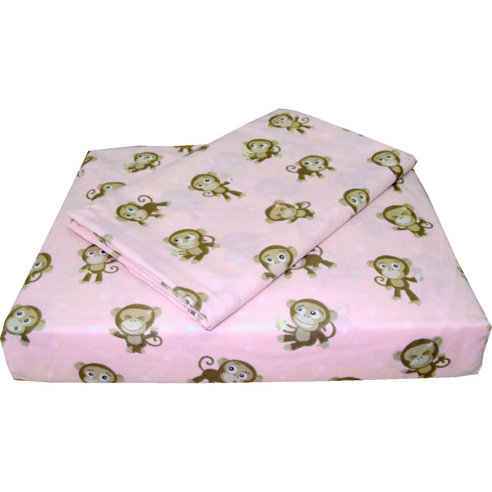 playful monkeys twin bed sheets 3pc pink animal sheet set twin size. Black Bedroom Furniture Sets. Home Design Ideas