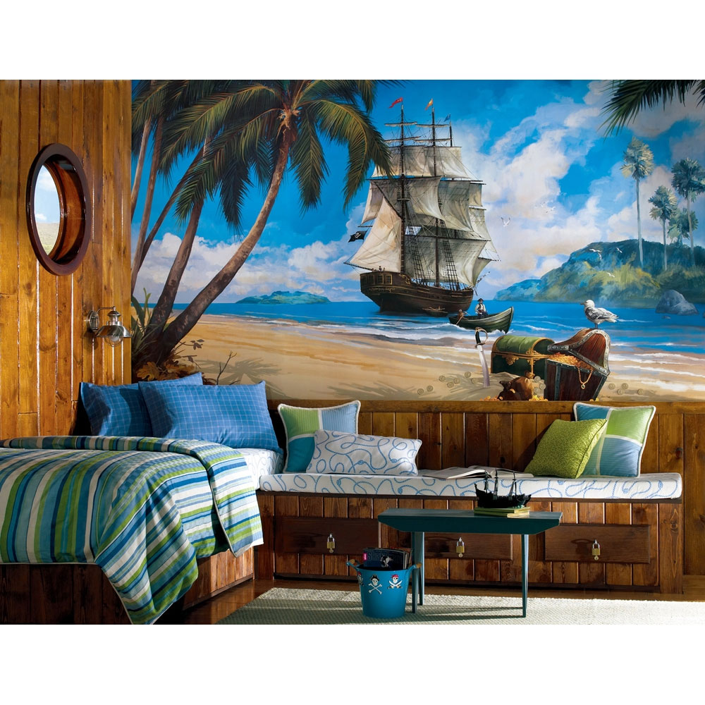 Fun beach theme bedroom decor ideas for Beach mural for wall