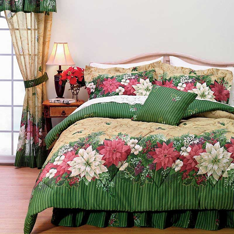3pc Poinsettia Comforter Set Christmas Holiday Bedding