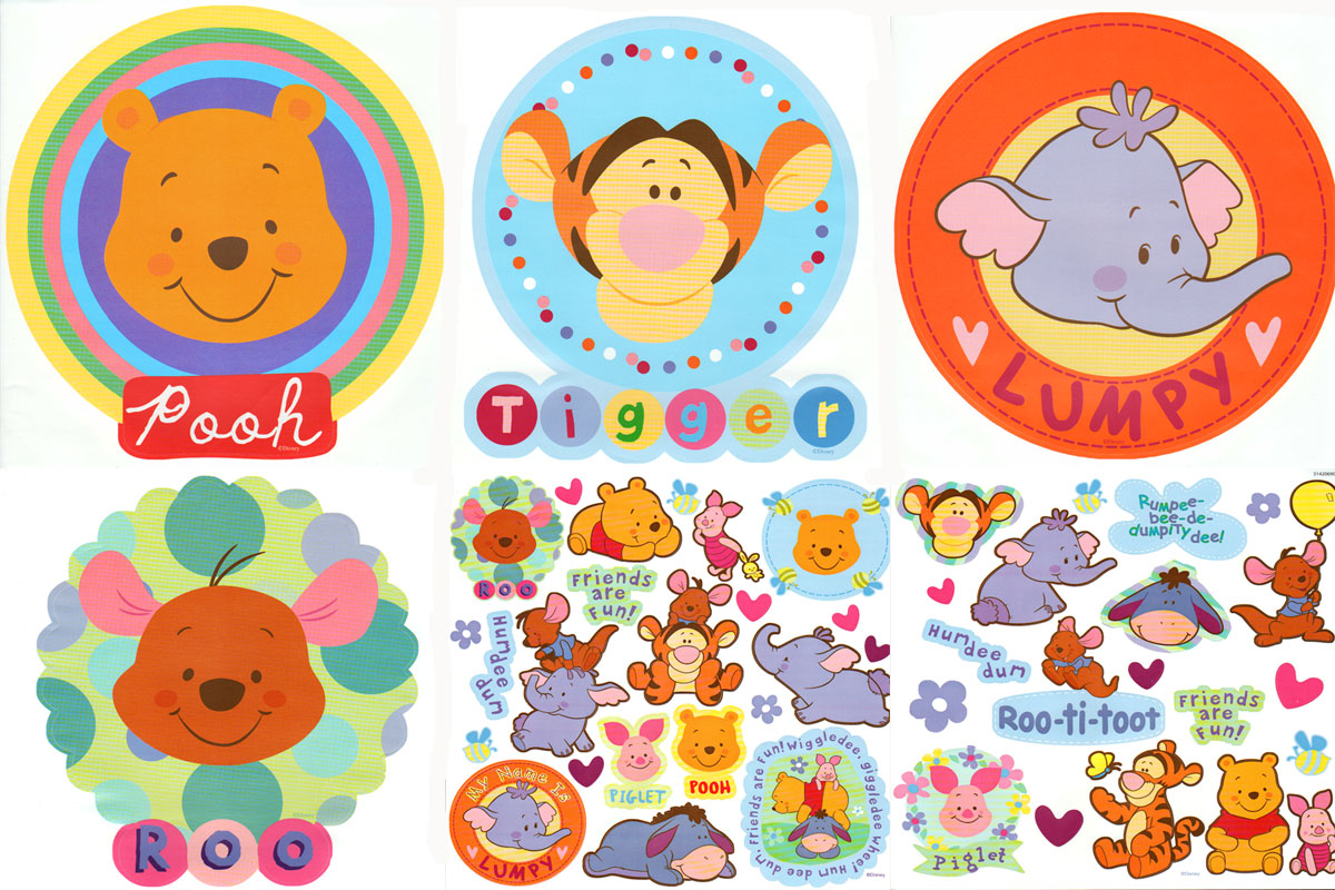 Pooh And Friends - Peel And Stick - 4pc Wall Art 38 Stick-ups