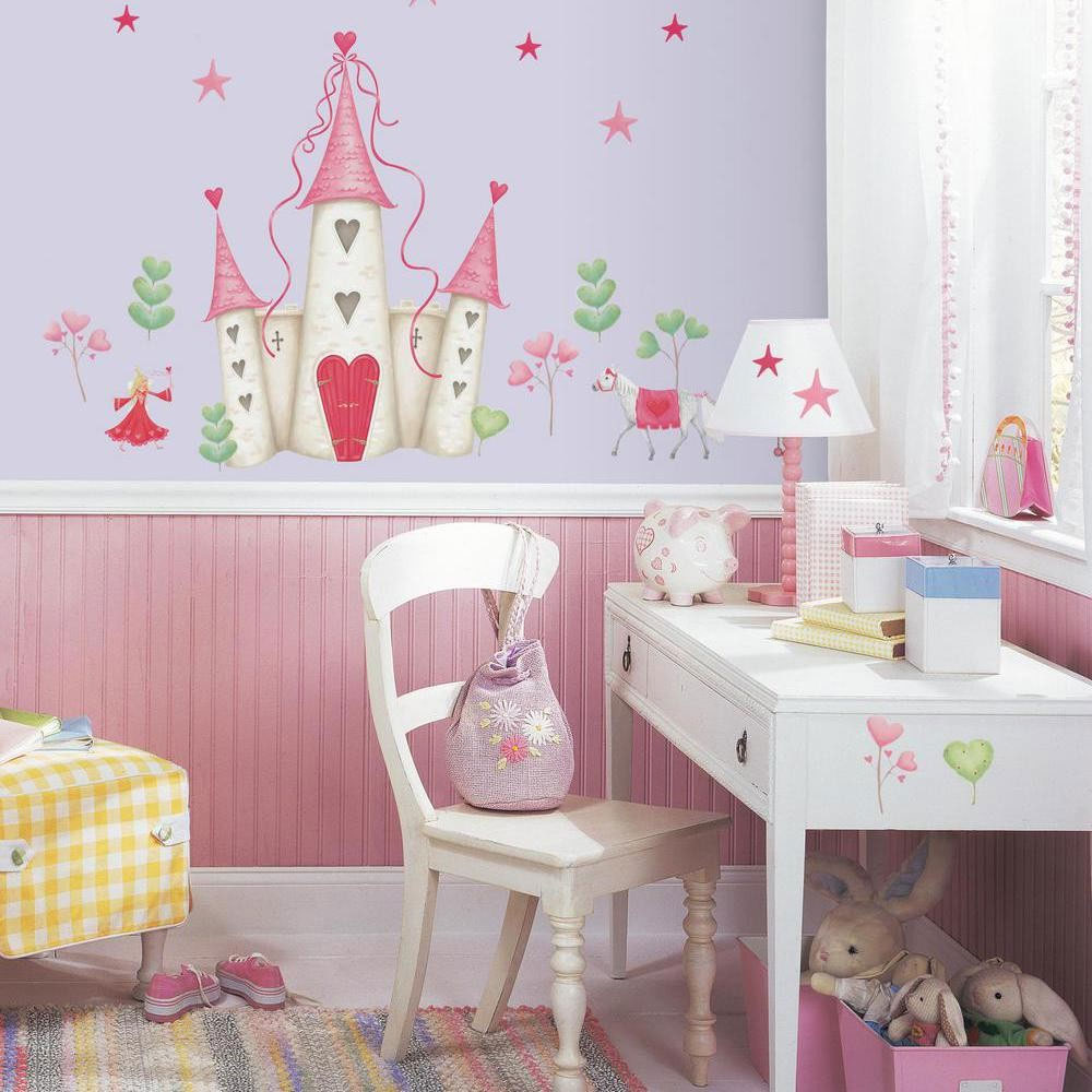 Fairy princess castle mural accent and 20 wall stickers for Fairy castle mural
