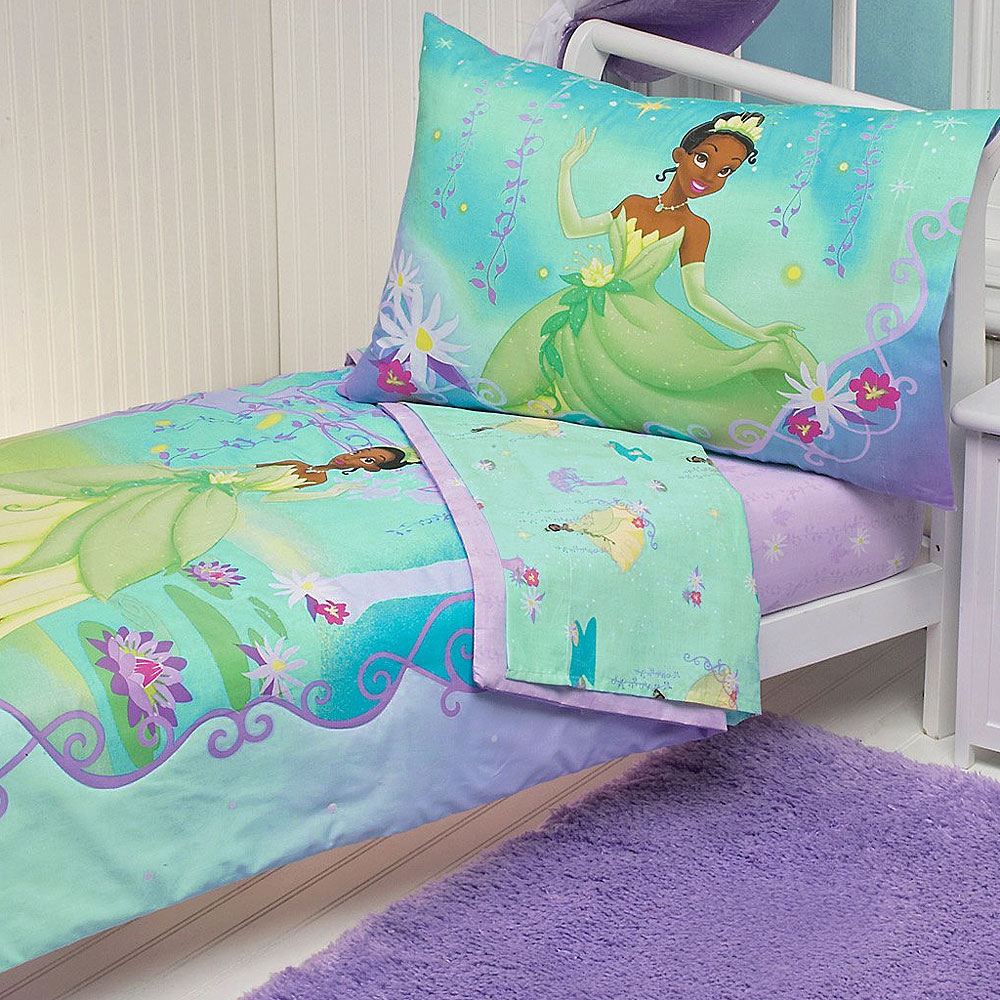 4pc disney princess frog toddler bed set tiana purple for Princess themed bed