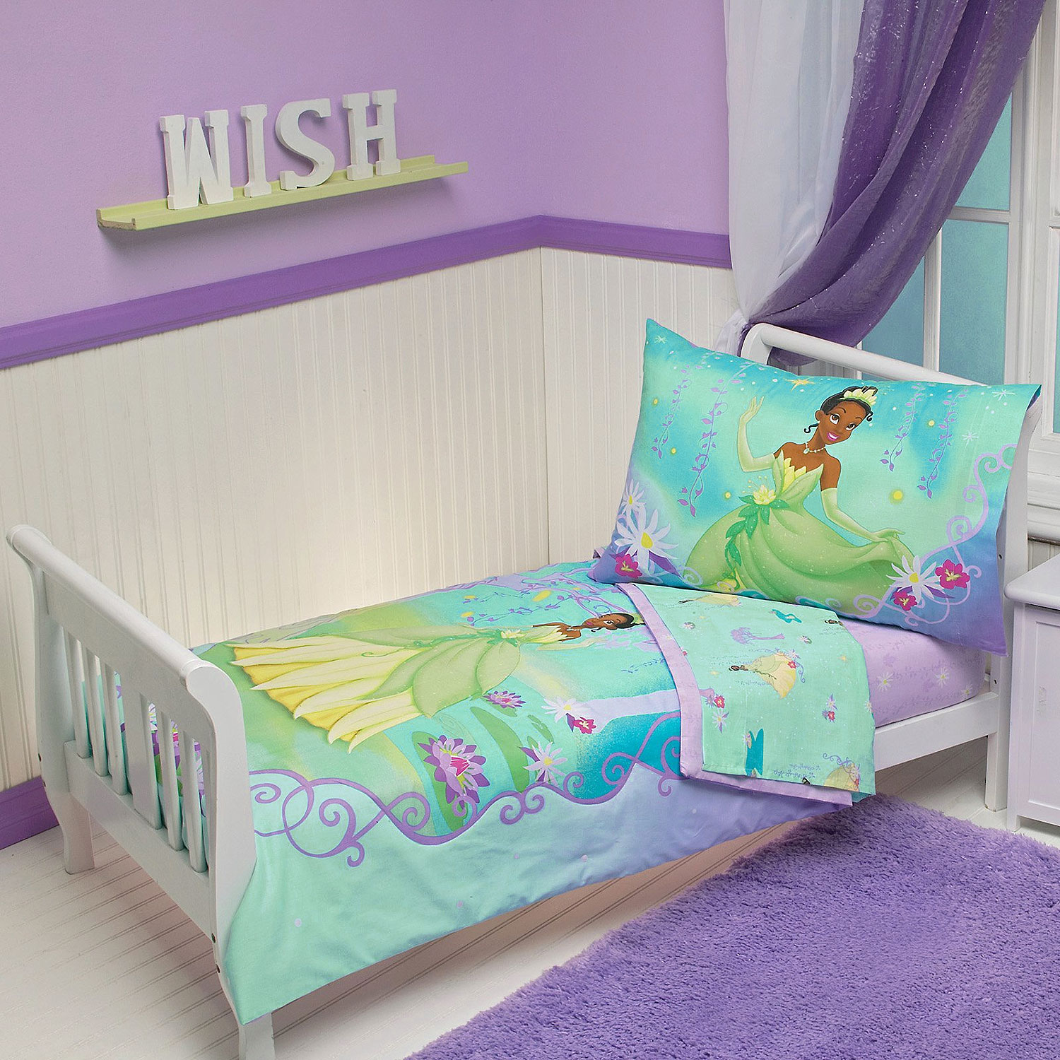4pc DISNEY PRINCESS FROG TODDLER BED SET Tiana Purple Lily Pads Crib Comfor