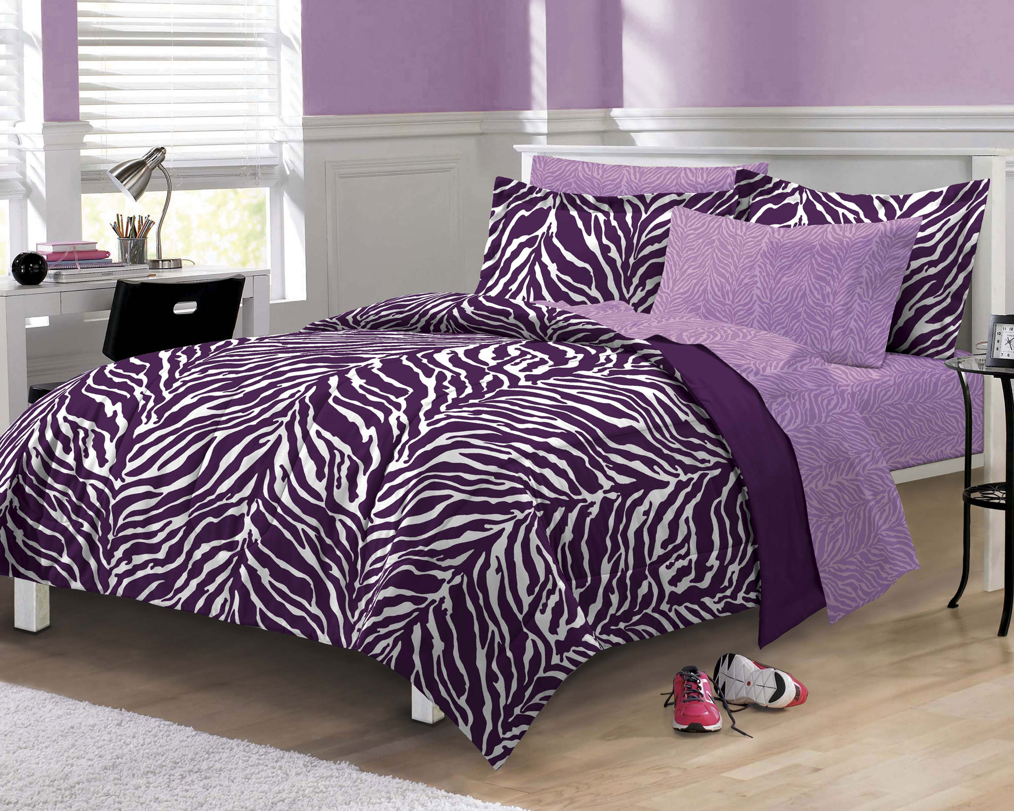 Purple zebra stripe bedding set animal print comforter Zebra print bedding